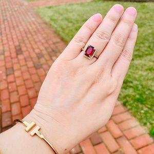2.1ct Natural Rubelite Halo Ring